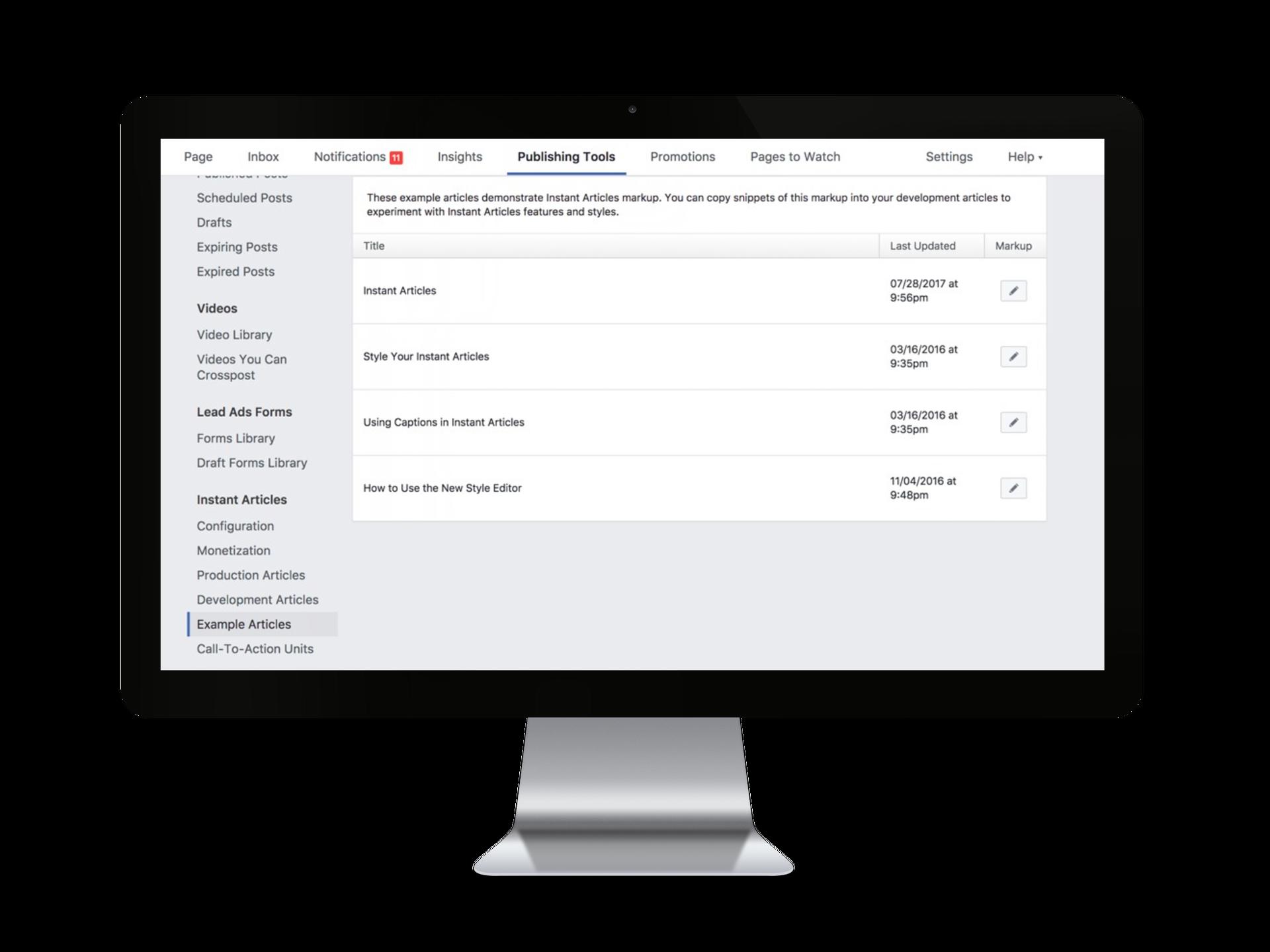 Écran outils de publication-exemples Facebook Instant Articles