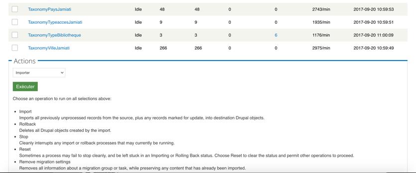 Capture d'écran tache de Drupal Migrate